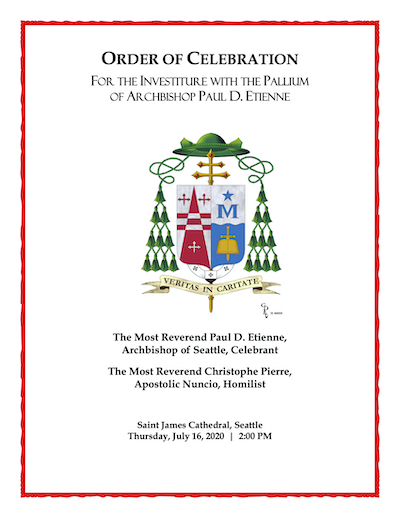 Cover of the Order of Celebration for the Investiture with the Paillium of Archbishop Etienne by the Nuncio Christophe Pierre